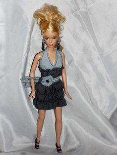 Barbie Doll Clothes Lt Blue Denim and Grey by NiteBabyDollWorld, $12.50