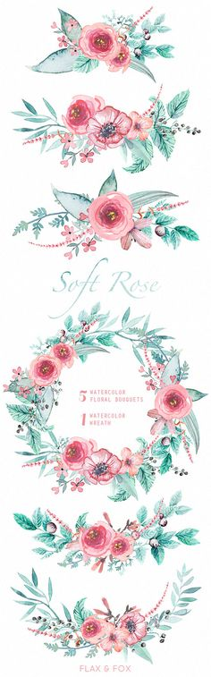 Soft Rose Watercolor Bouquets, Wreath hand painted clipart, floral wedding invite, greeting card, diy clip art, flowers