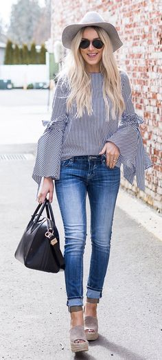 #spring #outfits Striped Blouse & Bleached Skinny Jeans & Grey Suede Platform Sandals & Black Leather Tote Bag