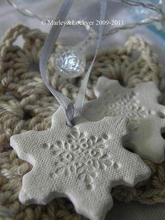 Salt dough snowflakes.