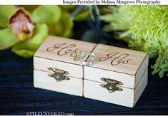 "Personalized ""His"" & ""Hers"" set of ring bearer box"