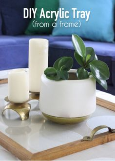 Learn how to create a stunning acrylic tray from any frame to give you the perfect new living room accessory! Ikea Kallax Unit, Table Setting Inspiration, Old Frames, Diy Organization, Organizing, Craft Items, Plexus Products, Diy Art, Bubbles