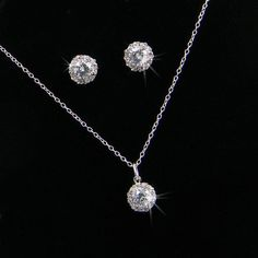 Crystal  Bridal Jewelry,  Delicate Crystal Stud Earrings, Pendant necklace, Bridesmaids Jewelry, Bridal Jewelry SET, Crystal SET on Etsy, $40.00
