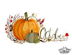 October pumpkin watercolor