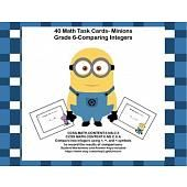 Grade 6 Math- Comparing Integers -CCSS- 40 Task Cards-Minions