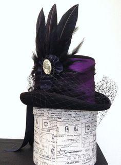 Purple Raven steampunk Neo Victorian Top Hat Lady by Blackpin