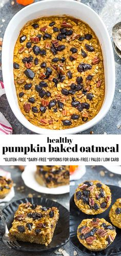 This Healthy Pumpkin Baked Oatmeal is an easy make-ahead breakfast full of cozy pumpkin puree, pumpkin spice and perfect for fall. It's a healthy breakfast recipe made in just one bowl with gluten-free rolled oats and pure maple syrup. Includes grain-free, paleo and low carb option. Freezer-friendly and works great for meal prep! #pumpkinbakedoatmeal #pumpkin #glutenfree Healthy Pumpkin, Baked Pumpkin, Pumpkin Recipes, Pumpkin Puree, Pumpkin Spice, Delicious Breakfast Recipes, Savory Breakfast, Brunch Recipes, Yummy Food