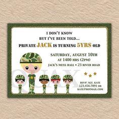 Army Birthday Invite  PRINTABLE INVITATION DESIGN by Quax on Etsy, $12.00