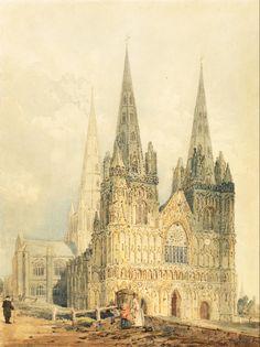 Girtin, Thomas (1775-1802) - Lichfield Cathedral, Staffordshire 1794. #england