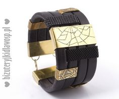 Men's bracelet - common work of several Polish artists (we've made the brass box clasp and brass spacer with engraved spider's web motif).