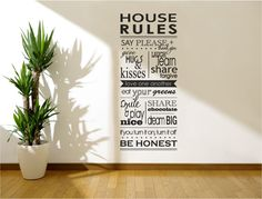 House rules wall art sticker