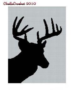 deer head pattern | Deer Head Silhouette #2 Afghan Crochet Pattern Graph - Crocheting ...
