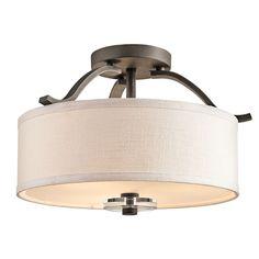 Leighton Olde Bronze Three-Light Semi Flush Mount--love the linen shade on this