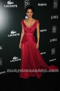 Halle Berry Burgundy Annual Costume Designers Guild Awards Lace Red Carpet Dress Tulle Pleat V-neck Floor-length Evening Dress Celebrity-inspired Dresses