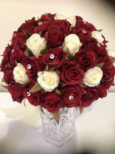 RED & IVORY ROSES 60 BUDS WEDDING  BOUQUET WITH DIAMONDS SILK FLOWER