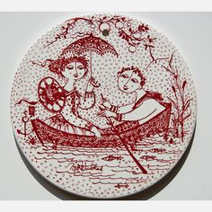 From the world famous artist and designer, the danish Bjorn Wiinblad. Wall plate in red World Famous Artists, Romance And Love, Vintage Plates, Nocturne, Figurative Art, Plates On Wall, Tech Accessories, Danish, Anniversary Gifts