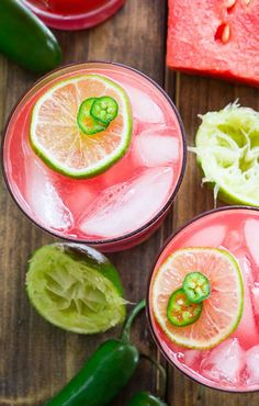 Jalapeno Watermelon Margarita #booze #cocktail #watermelon