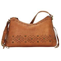 American West Amber Waves Zip Top Shoulder Bag Golden Tan
