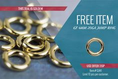 8G3K: 10% off Sterling Silver Toggles (S3 prefix only, limit 50 pcs per style) 7J5P: 10 FREE Pieces GJH1: 14/20 Gold-Filled 4mm OD 20ga Hard Snap Open Jump Rings Expires June 26, 2016