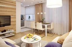 A 46 négyzetméteres (+ erkély) lakás adottságaiból próbálta meg kihozni a tervező a lehető legtöbbet, a nappali életterét lehetőség szerint maximalizálva és egy kisebb, hosszúkás hálószobát kialakítva.