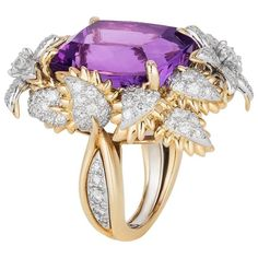 Bielka Amethyst Diamond Gold Platinum Ring | From a unique collection of vintage cocktail rings at https://www.1stdibs.com/jewelry/rings/cocktail-rings/