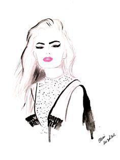 Watercolour fashion illustration Titled Wild by FallintoLondon