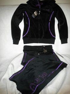 NWT BCBG MAX AZRIA Velour Tracksuit Pants Hoodie Sz S PURPLE Rhinestone BLACK    #BCBGMAXAZRIA #TrackSweatSuits