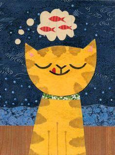 Cat Ideas, Baby Motiv, Illustration Art, Illustrations, Pintura Country, Cat Quilt, Orange Cats, Art Mural, Cat Drawing