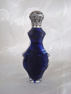 SUPERB ANTIQUE BRISTOL BLUE FRENCH PERFUME SCENT BOTTLE SILVER LID C1880   eBay