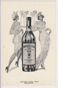 "OLD ""RARE"" VINTAGE CUBA POSTCARD - ""HAVANA CLUB"" RUM - 2 BLACK LADIES - 1937"
