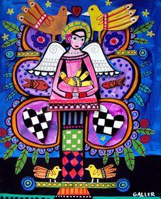 Frida Kahlo Mexican Primitive Folk Art Painting
