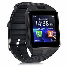 7cc812d51127 Pandaoo Smart Watch Mobile Phone Unlocked Universal GSM Bluetooth Storage  Music Player Camera Calendar Stopwatch Sync with Android Smartphones(Black)  ...