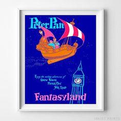 Disneyland Peter Pan Fantasyland Home Decor Poster - Prices from $9.95 - Click Photo for Details - #disneyland#disneyfan#disneyattractions#babyroomdecor#vintage#PeterPan #Fantasyland