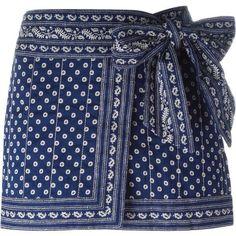 Isabel Marant Étoile 'Lyne' wrap skirt (3,080 MXN) ❤ liked on Polyvore featuring skirts, mini skirts, bottoms, saias, blue, blue mini skirt, cotton short skirts, short mini skirts, wrap skirts and short wrap skirt