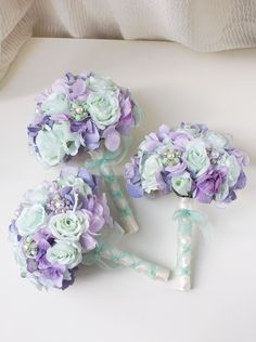 Mint & Lavender Brooch Bridal Bouquet. All bouquets are handcrafted in New York City and are made to order.