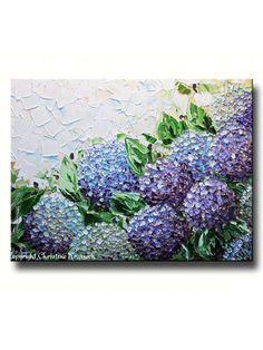 GICLEE PRINT Art Abstract Painting Hydrangea Flowers Impasto Lavender Purple Canvas Prints