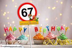 67. Geburtstag Geburtstagswünsche mit Schild und Alter auf Karte - Geburtstagssprüche-Welt