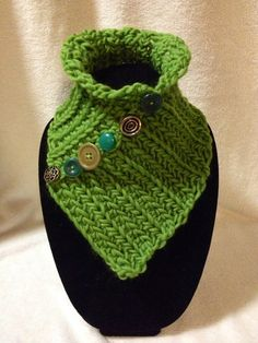 Hand Crocheted Green Neck Cowl-Scarf-Warmer. by TwistedTatters