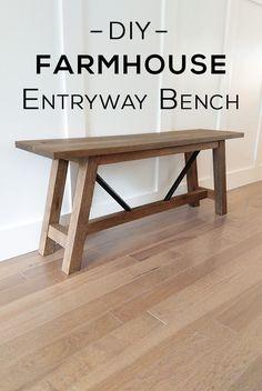 DIY Farmhouse Entryway Bench - Woodshop Mike DIY Metal and Wood Farmhouse Bench. Diy Furniture Projects, Woodworking Furniture, Diy Woodworking, Furniture Plans, Furniture Stores, Cheap Furniture, Furniture Nyc, Woodworking Machinery, Diy Entryway Furniture