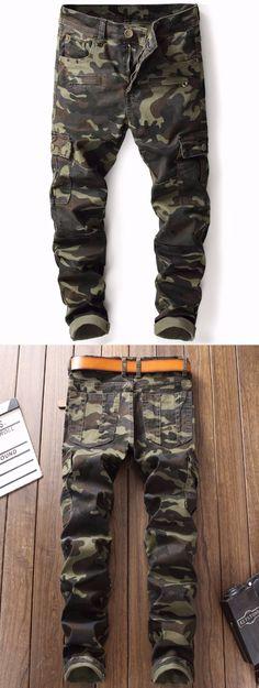 Zip Pockets Straight Leg Camouflage Cargo Pants