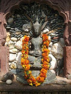 Buddha on outdoor altar