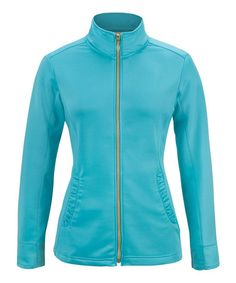 Look what I found on #zulily! Turquoise Ruffle Track Jacket by Sport Haley #zulilyfinds