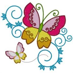 AnnTheGran Free Embroidery Design: Butterflies 3.40 inches H x 3.50 inches W