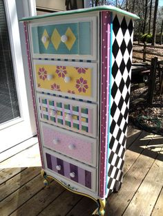Hand painted furniture by FurniCharm. Antique dresser.
