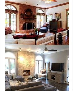 """Guess what?! I'm here with another """"before and after"""" of our 1988 custom built home that we purchased and renovated a few years ago! 😉 I thought that family room was one of the least appealing rooms in the house when I first saw it, as it is pictured in the top photo which was taken from the real estate listing sheet....from the ivory carpet, to the yellow and green small stained glass window next to the tv, to the fireplace, light fixtures and window treatments- I wanted to change it all…"""