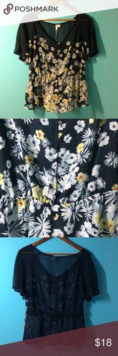 Lauren Conrad Sheer Blouse Lauren Conrad Sheer Blouse. Elastic waist. Button front.   100% polyester LC Lauren Conrad Tops Blouses