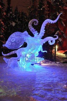 Photo about Blue Ring Octopus Ice Sculpture, 2010 World Ice Art Championships February Fairbanks, Alaska. Image of fairbanks, illuminated, octopus - 13283006 Snow Sculptures, Art Sculpture, Art And Illustration, Art Bizarre, Illusion Kunst, Arte Fashion, Motif Art Deco, Ice Art, Snow Art