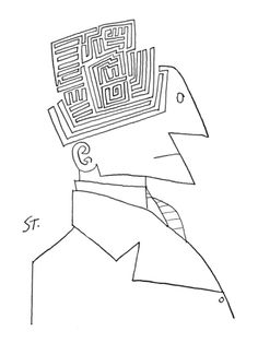Bust of man. The top of his head is a maze. - New Yorker Cartoon Premium Giclee Print by Saul Steinberg at Art.com