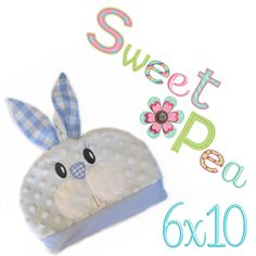 Bunny baby hat ITH in the 6x10 hoop - Sweet Pea