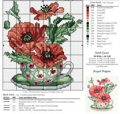 Cross-stitch A Year of Floral Teacups, part 8 - August Poppies.ru / Photo # 3 - 12 in cups - irisha-ira Cross Stitch Kitchen, Cross Stitch Love, Cross Stitch Needles, Cross Stitch Flowers, Cross Stitch Charts, Cross Stitch Designs, Cross Stitch Patterns, Cross Stitching, Cross Stitch Embroidery